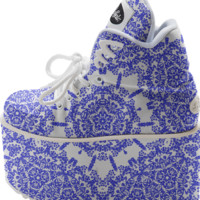 Indigo Blue White Pretty Floral Pattern Trendy Buffalo Platform Shoes created by Pasion4Fashion | Print All Over Me