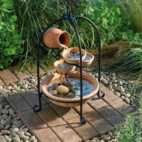 Outdoor Classics Terracotta Monroe Cascade Solar On Demand Fountain
