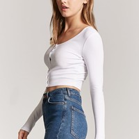 Ribbed Knit Snap-Button Crop Top