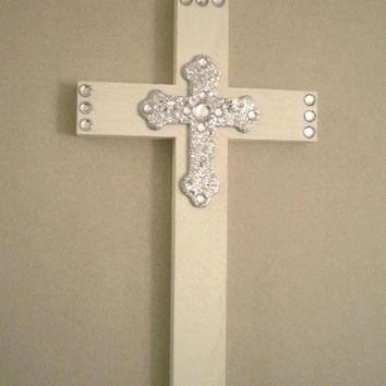 WHITE BLING & SILVER Wall Cross- hand painted wood cross with silver glitter cross and clear rhinestones -