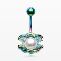 Colorline Ariel's Shell with Pearl Belly Button Ring