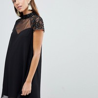 Lipsy Swing Babydoll Dress With Lace Sleeve at asos.com