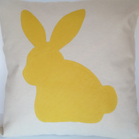 """Pillow Cover 18"""" - Handpainted Easter Bunny"""