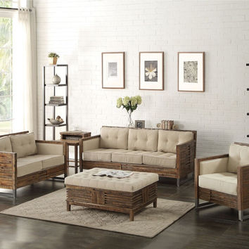 Acme 53450-51 2 pc Andria reclaimed oak finish wood beige linen sofa and love seat set
