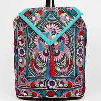 Reclaimed Vintage Emboridered Backpack in Swirl and Floral Print