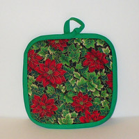 Quilted Red and Green and Gold Poinsettia  Christmas Pot Holder