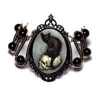 Steampunk Goth Jewelry - Bracelet - Feline / Cat on Skull Cameo