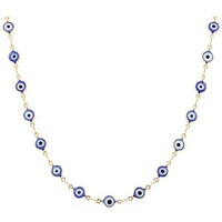 Ladies Gold Overlay with Navy Blue Evil Eye 18 Inch Necklace