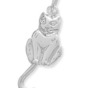Sterling Silver Cat with Movable Tail Charm