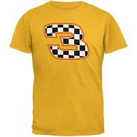 Racing Number 3 Checkered Flag Gold Adult T-Shirt
