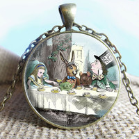 Mad Hatter's Tea Party, Alice in wonderland Pendant/Necklace Jewelry, Necklace Jewelry, Alice Photo Jewelry Glass Pendant Gift