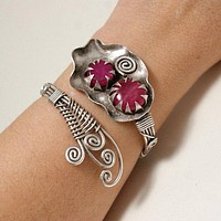 Handmade Wire Wrapped Ruby Cuff Bracelet