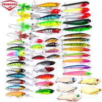 8-50pc Fishing Lures set 50colors fishing bait Mixed Size fishing tackle mixed Minnow Lures/Popper Lures/Pencil-VIB/Crank Lures