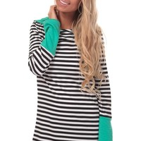 Striped Hoodie with Mint Detail