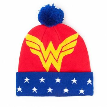 Wonder Woman Logo Knitted Bobble Hat : TruffleShuffle.com