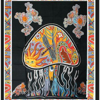 Psychedelic Mushroom Hippie Tapestry Wall Hanging Throw Tie Dye