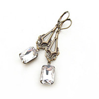 Art Deco Rhinestone Dangle Earrings