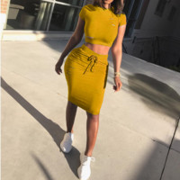 Fashion Sexy Short Sleeve Two Piece Dress