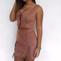 Autumn Suede Two-Piece Skirt Set