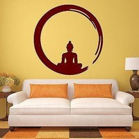 Buddha Wall Sticker Vinyl Decal Buddhism Meditation Circle Enso Zen Religion Unique Gift (ig342)