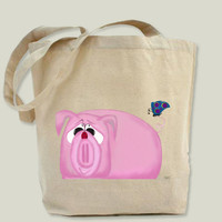 Chumley The Piglet And His Visitors Tote Bag by OneArtsyMomma on BoomBoomPrints