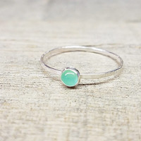 Chrysoprase Ring Sterling Silver Stacking Ring