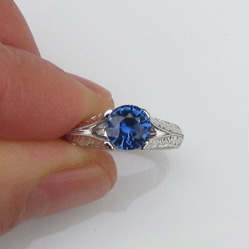 Blue Sapphire Solitaire Split Shank Hand Engraved Engagement Ring Available in 14k White Gold and 14k Yellow Gold