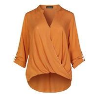 Casual Relaxed Fit Twist Front Blouse Shirt Top With Roll Up Sleeves (CLEARANCE)