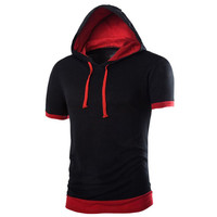 2017 Brand New Fashion Mens Hooded T-shirt Summer Patchwork Casual Short Sleeve Tee Tops Male Slim Fit Tshirt Camisetas
