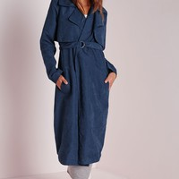 Missguided - Faux Suede Belted Trench Coat Blue