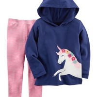 2-Piece French Terry Hoodie & Striped Legging Set
