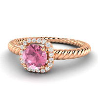 Natural Pink Tourmaline and Diamond Halo Engagement ring in 14K Gold - Trinity