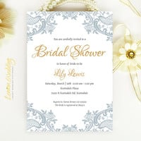 Elegant Lace Bridal Shower Invitation - Blue gray and gold wedding shower invitation printed on luxury white or cream pearlescent paper