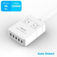 CHOETECH C0045S 30W Multi Port USB Desktop Travel Wall Charger with 320 Joule 4 AC Power Supply Surge Protector Outlet