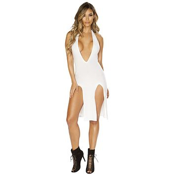 Sexy Look Alive Double High Slit Plunge White Midi Dress