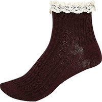River Island Womens Red and cream cable knit frilly ankle socks