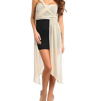 One Shoulder Draped Dress with Curtain Detail in Cream and Black