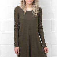 Lace Up Back L/S Ribbed Dress {Olive}