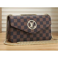 Onewel LV Shoulder Bag Louis Vuitton Women Coffee Brown LV Buckle Crossbody bag Tartan