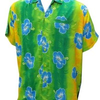 La Leela Green Color Beach Aloha Hawaiian Shirt For Men