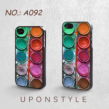 Phone Cases, iPhone 5 Case, iPhone 5s Case, iPhone 4 Case, iPhone 4s case, Water color paint set, iPhone Case, Case for iphone, Case No-092