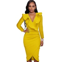 Elegant yellow black blue white women bandage dress large plus size sexy clubwear bodycon long sleeve Package Hip female clothes