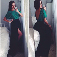 Half Sleeve Back V Shape Cut Out Maxi Dress with Slit