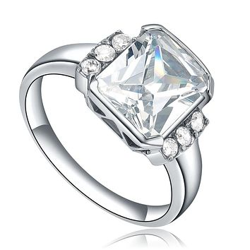 Stainless Steel Princess Cut Cubic Zirconia Ring