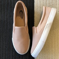 SALE! Perforated Blush Slip On Sneakers