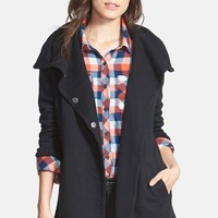 Women's Stem Oversize Collar Double Breasted Long Jacket,