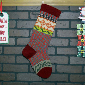 Christmas Stocking, Hand Knit Fair Isle Christmas Stocking with Red Cuff, Heather Hearts and Green Chevrons, Can Be Personalized, Baby Gift