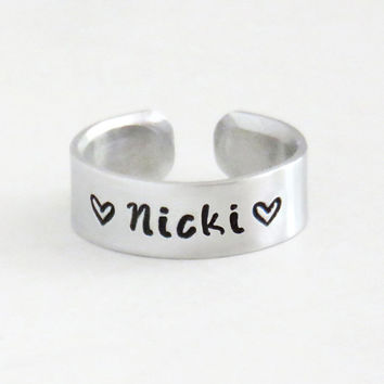 Personalized name ring heart ring - New mom gift new dad gift - Boyfriend ring girlfriend ring - Promise ring