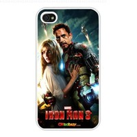 2013 Iron Man 3 Poster Modern Design, Hard Case Cover Skin Protector for Iphone 4 4s Iphone4 At & T Sprint Verizon Retail Packing (White Pc + Pearlescent Aluminum) Fs-00255