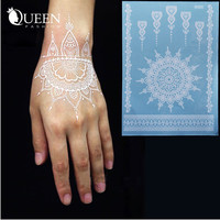 Hot White Lace Temporary Tattoo Sticker Waterproof Henna Tatoo Bracelet Sleeve Flash Fake Tatouage Women Body Art Jewelry